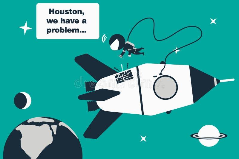 De astronaut in open plek, elimineert het probleem met de raket en verzendt bericht ` Houston, hebben wij een probleem ` aan de a vector illustratie