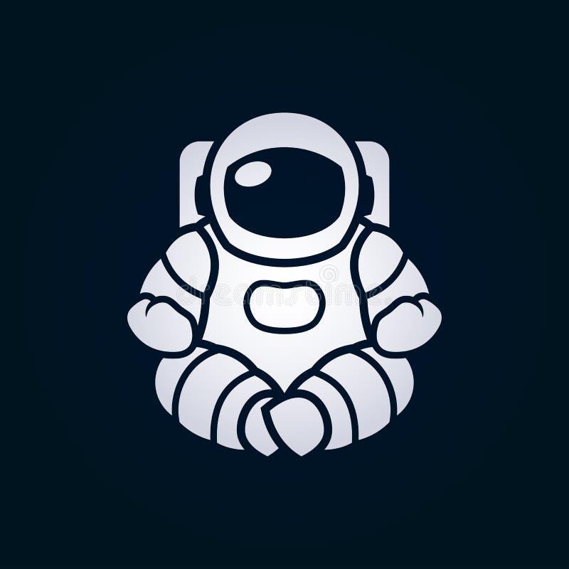 De astronaut in ruimtepakzitting in lotusbloem stelt stock illustratie