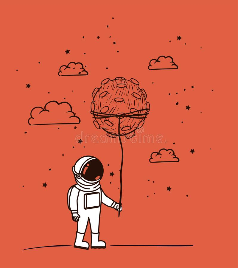 De astronaut trekt met stervormig ontwerp vector illustratie