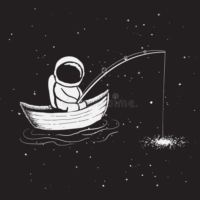 De astronaut zit in boot en vangt sterren royalty-vrije illustratie
