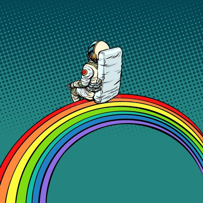 De astronaut zit op een regenboog stock illustratie
