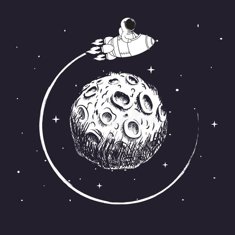 De astronaut zit in ruimteschip en het vliegen rond Maan vector illustratie