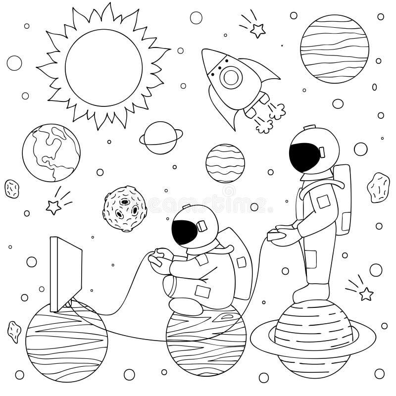 De astronauten spelen videospelletjes stock illustratie