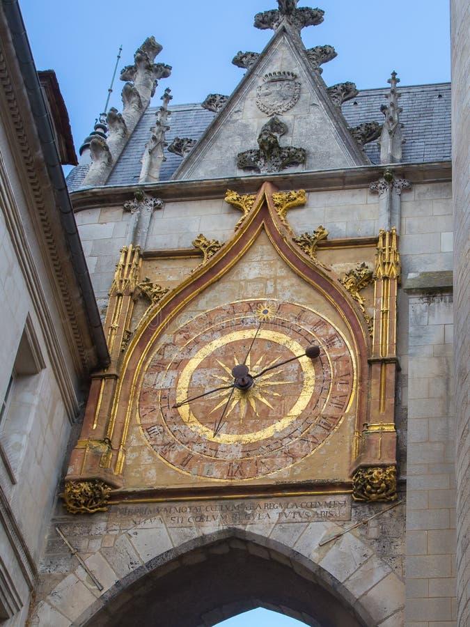 De astronomische klok in Auxerre, Frankrijk stock foto's