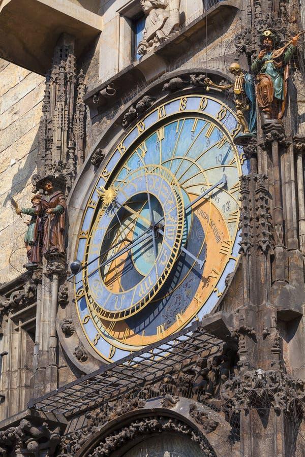 De astronomische klok Orloj van Praag op Oud Stadhuis, Tsjechisch Praag, stock fotografie