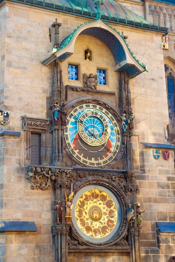 De Astronomische Klok van Praag op muur royalty-vrije stock foto
