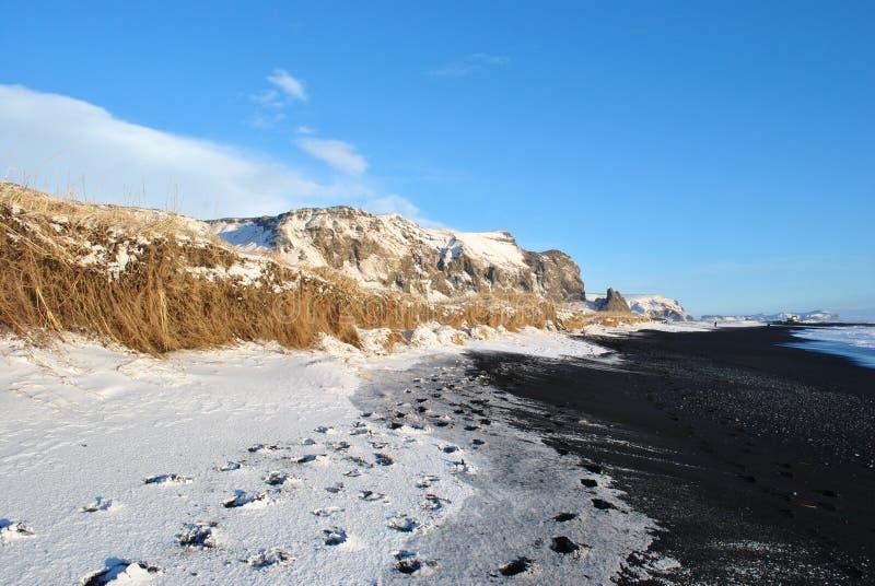 De Atlantische kust van IJsland, zwart strand royalty-vrije stock afbeeldingen