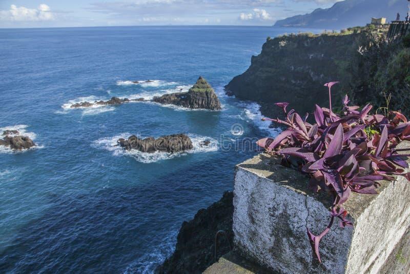 De Atlantische Oceaan, noordelijke kust van Madera stock afbeeldingen