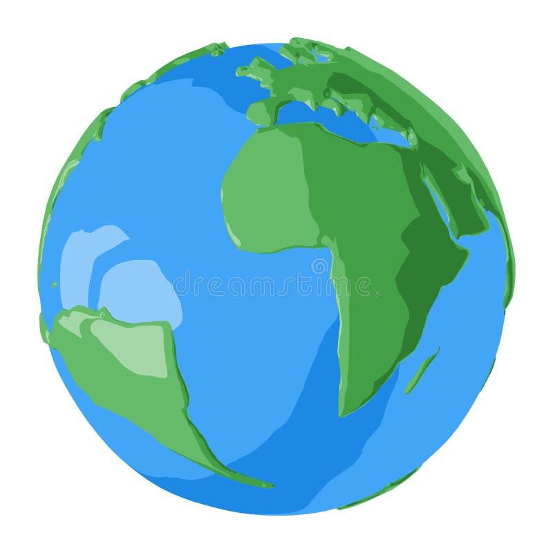 De Atlantische Oceaan op eenvoudige glanzende 3D bol voor illustratie van aardedag stock illustratie