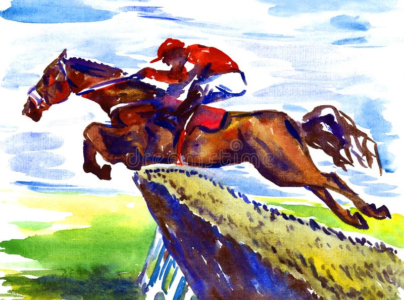 De atleet op horseback sprongen over een hindernis toont het springen sport vector illustratie