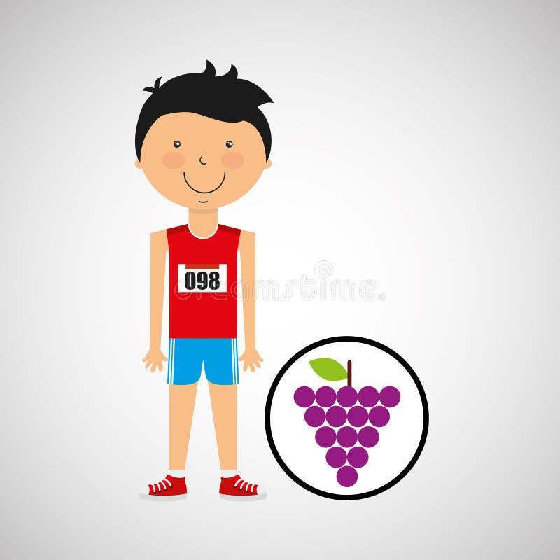 De atleet van de beeldverhaaljongen met druif royalty-vrije illustratie
