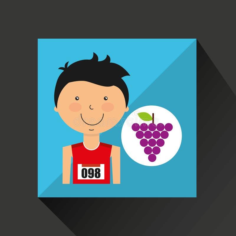 De atleet van de beeldverhaaljongen met druif vector illustratie