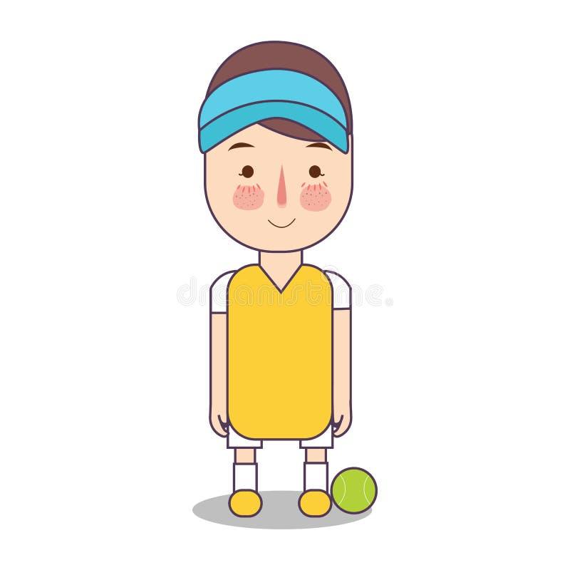 De atleet van het tennisspel met bal Avatar van de sportmens vectorillustratie van karakter op witte achtergrond jongen die zich  vector illustratie