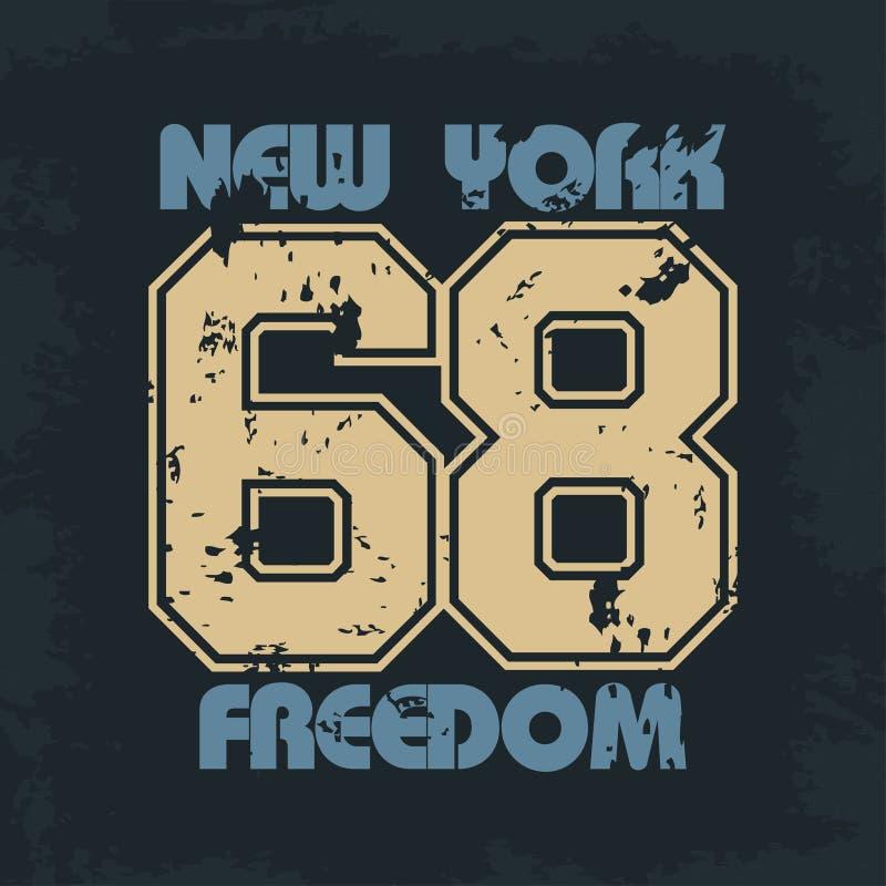 De atletische slijtage van New York met het van letters voorzien vrijheid vector illustratie