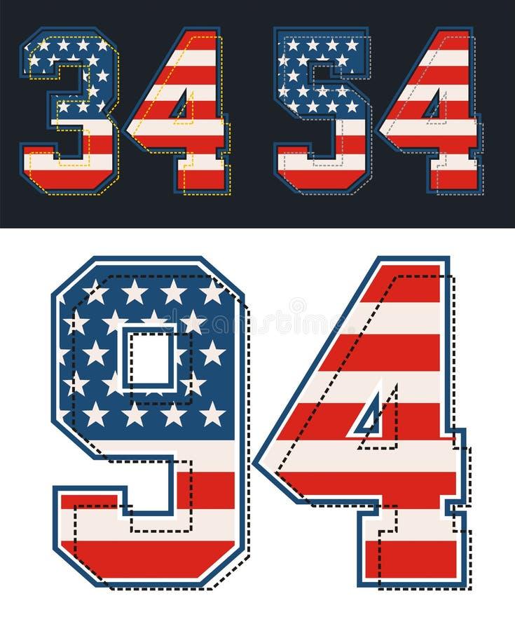 De atletische vastgestelde geweven vlag van aantallenamerika Vector beeld stock illustratie
