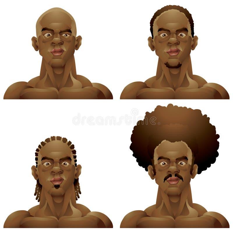 De atletische zwarte hoofdreeks van mensenkapsels stock illustratie