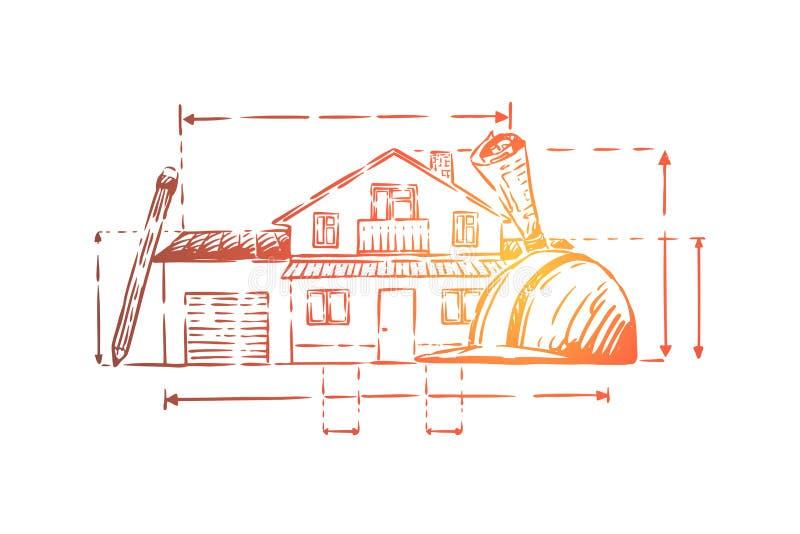 De attributen van het architectenberoep, plattelandshuisjeplan, bouwvakker, de schema's van de landgoedvoorgevel, bouwproject vector illustratie