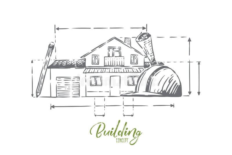 De attributen van het architectenberoep, plattelandshuisjeplan, bouwvakker, de schema's van de landgoedvoorgevel, bouwproject royalty-vrije illustratie
