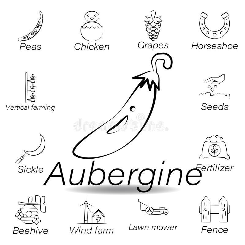 De auberginehand trekt pictogram Element van de landbouw van illustratiepictogrammen De tekens en de symbolen kunnen voor Web, em vector illustratie