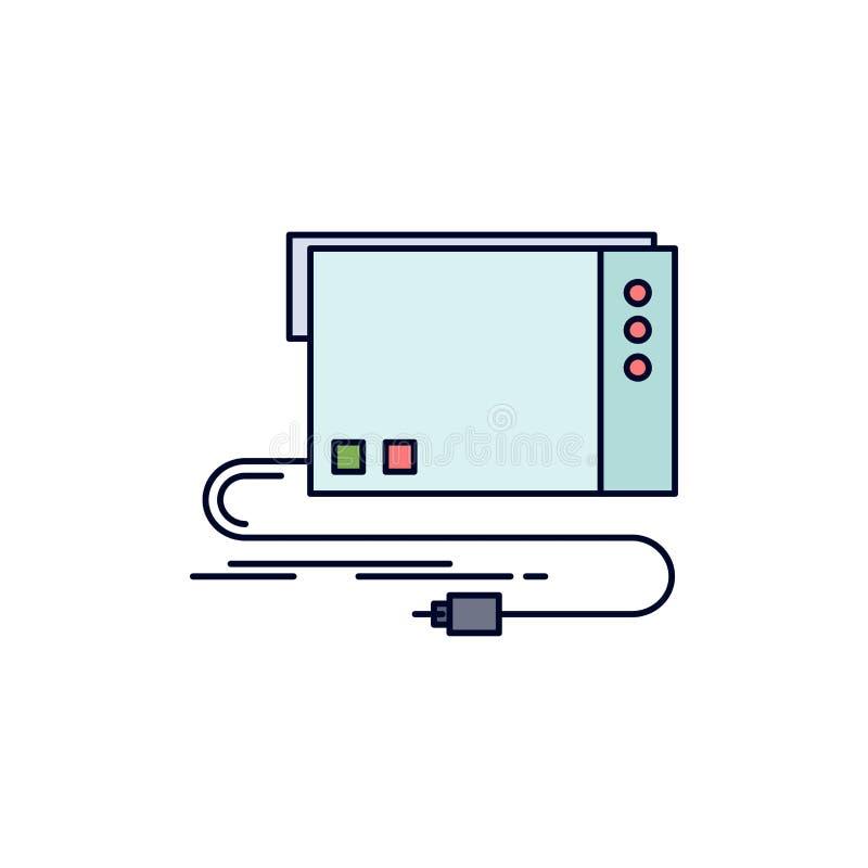 de audio, externe kaart, interface, klinkt de Vlakke Vector van het Kleurenpictogram stock illustratie