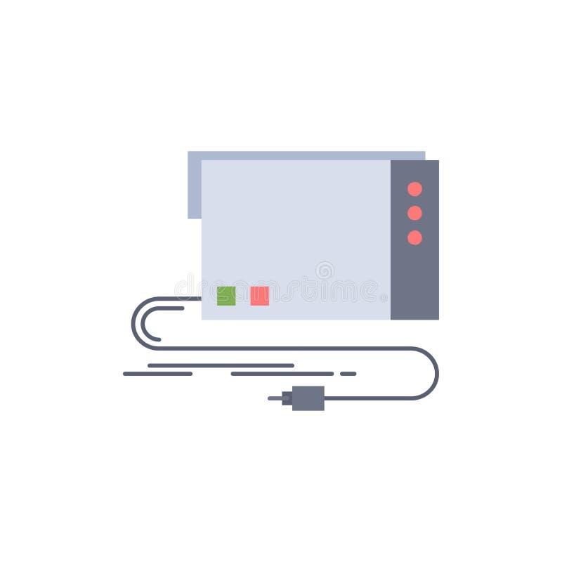 de audio, externe kaart, interface, klinkt de Vlakke Vector van het Kleurenpictogram vector illustratie