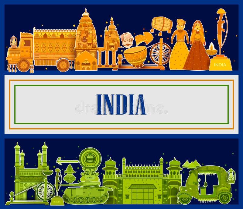 15de August Independence van tricolorachtergrond van India stock illustratie