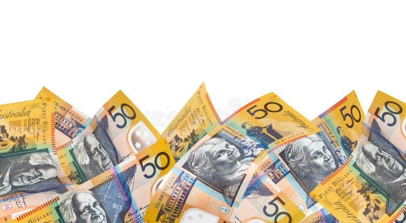 De Australische Grens van het Geld over Wit stock afbeelding