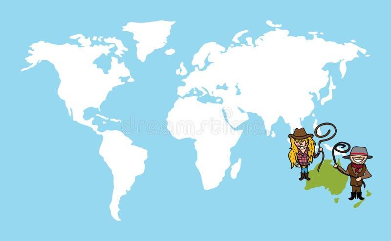 De Australische kaart van de het conceptenwereld van de mensendiversiteit royalty-vrije illustratie