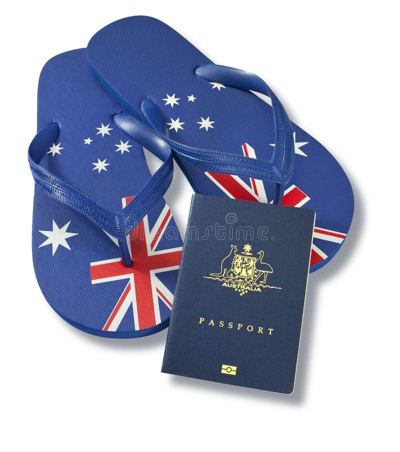 De Australische Leren riemen van de Vlag van het Paspoort royalty-vrije stock foto's
