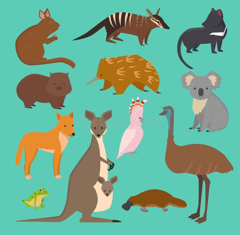 De Australische wilde vector van de inzamelingsaustralië van het dierenbeeldverhaal populaire dieren zoals vogelbekdieren, koala, vector illustratie