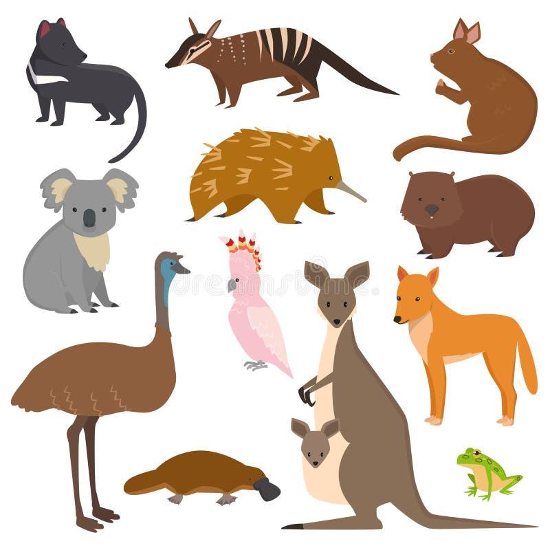 De Australische wilde vector van de inzamelingsaustralië van het dierenbeeldverhaal populaire dieren zoals vogelbekdieren, koala, royalty-vrije illustratie