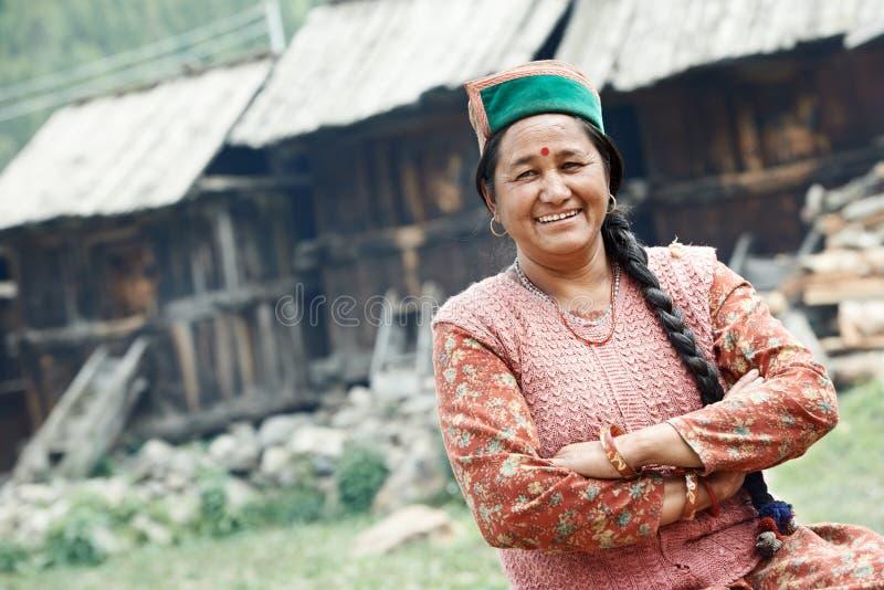 De authentieke Indische vrouw van de landdorpsbewoner royalty-vrije stock foto's