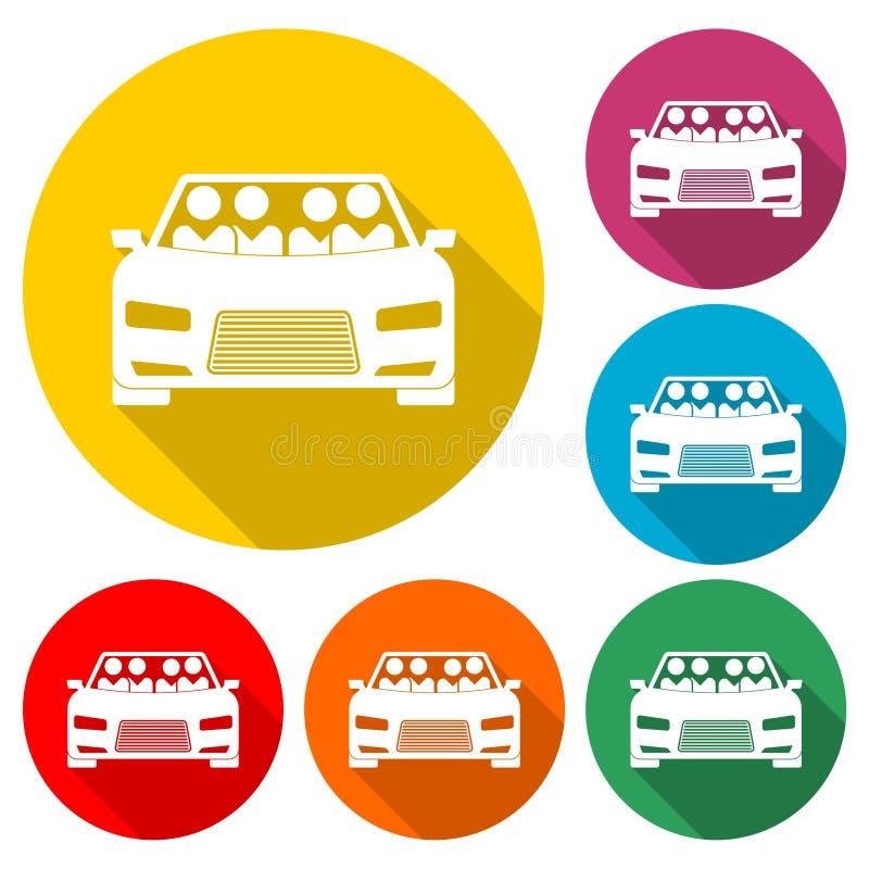 De auto die pictogram, Auto delen die Symbool, kleur delen plaatste met lange schaduw vector illustratie