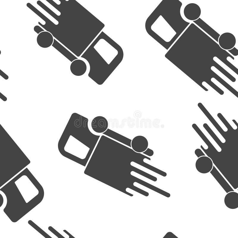 De auto gaat bij hoge snelheid, vectorpictogram Een symbool van snelle levering van lading door een naadloos patroon van het logi vector illustratie