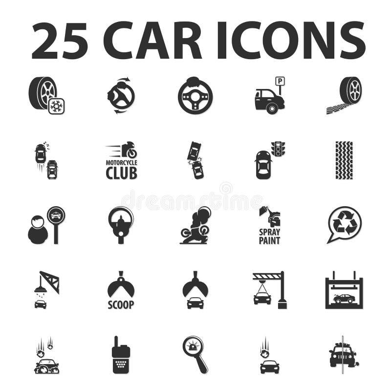 De auto, herstelt 25 zwarte eenvoudige die pictogrammen voor Web worden geplaatst royalty-vrije illustratie