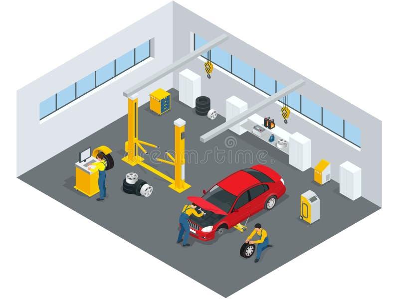 De auto mechanische dienst Benzinestation Vlakke pictogrammen van onderhoudsauto reparatie en het werken Geïsoleerde vlakke 3d ve royalty-vrije illustratie