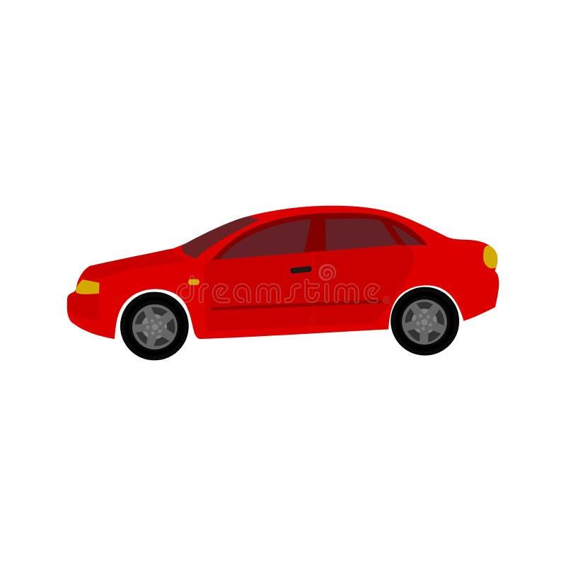 De auto is rood Het pictogram van toestellen vector illustratie
