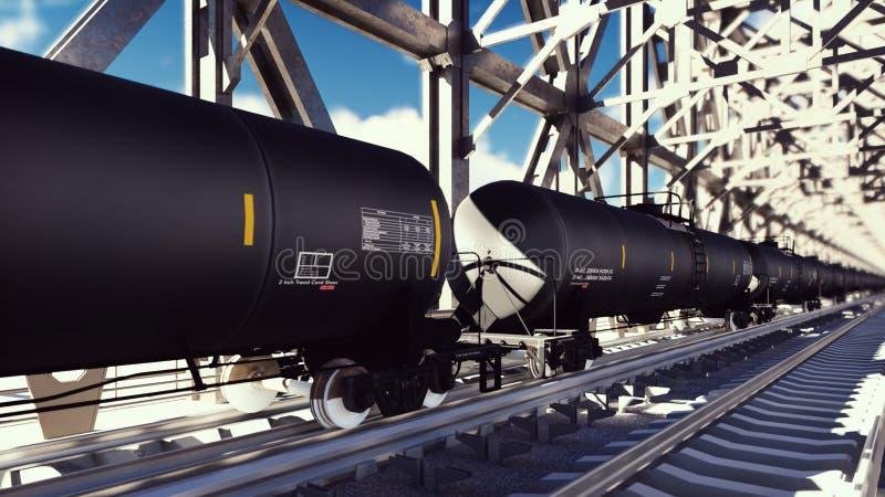De auto's van de spoortank met olie op de sporen bij zonsopgang Treinvervoer van tankers De container van de vloeibare stookolie stock illustratie