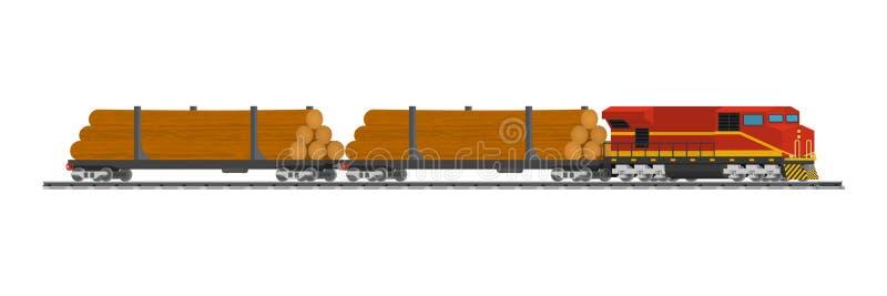De auto's van spoortreinen van hout bij het station stock illustratie