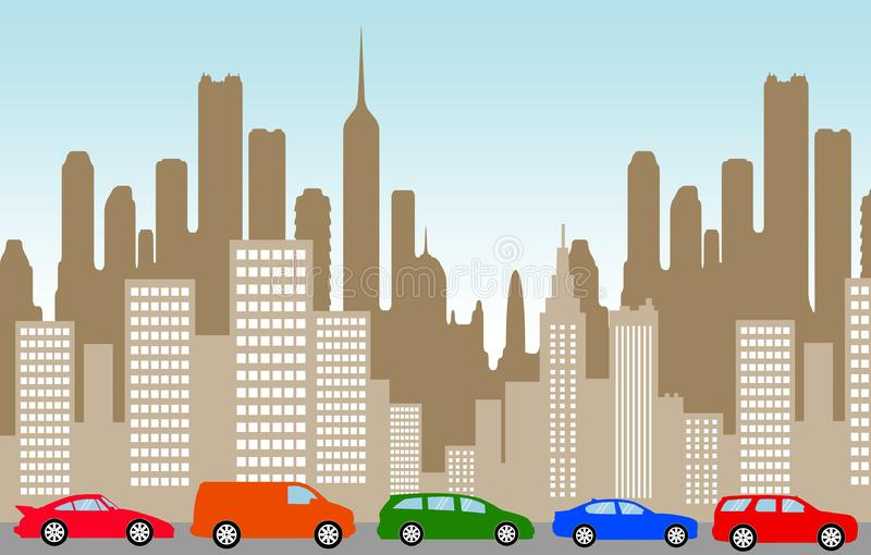 De auto's van de stadsopstopping royalty-vrije illustratie