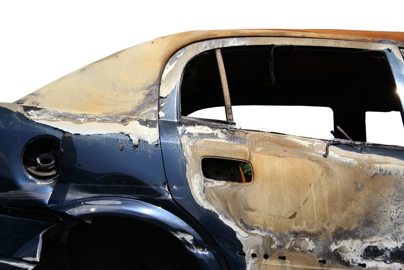 De auto van de brandwond stock afbeeldingen