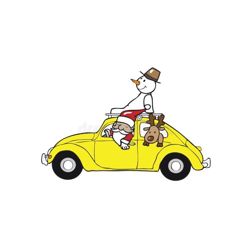 De auto van de het rendierkever van de kerstmansneeuwman royalty-vrije illustratie
