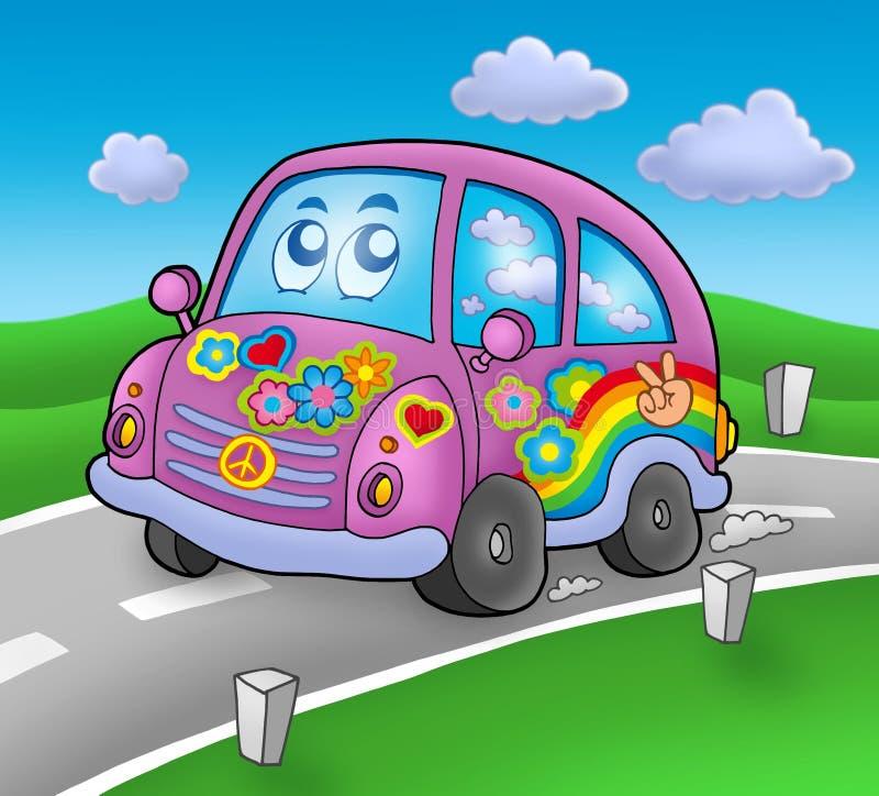 De auto van de hippie op weg vector illustratie