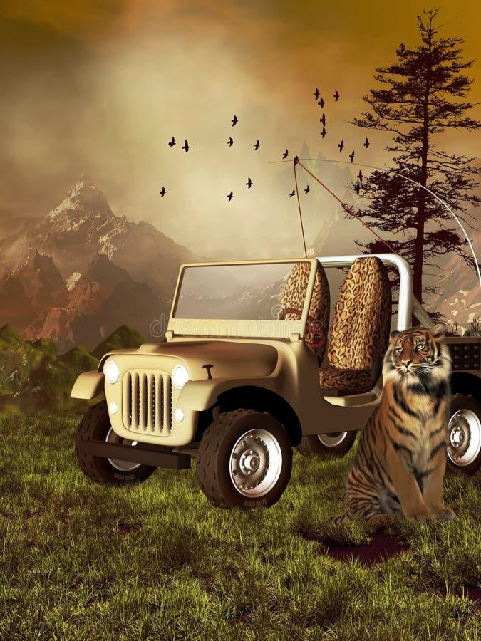 De auto van de safari met een tijger royalty-vrije illustratie