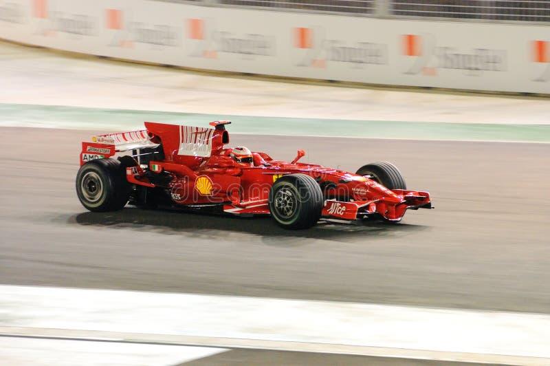 De Auto van Ferrari van RäikköNen van Kimi in 2008 F1 stock afbeeldingen