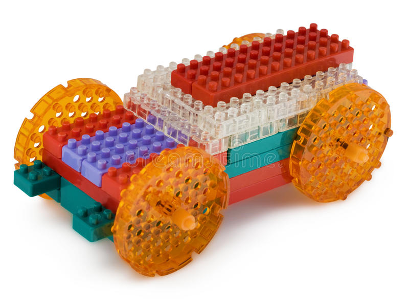 De auto van het stuk speelgoed die van meccano wordt gemaakt stock afbeeldingen