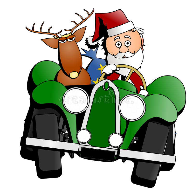 De auto van Kerstmis van de kerstman stock illustratie