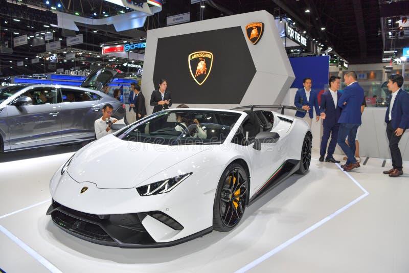 De auto van Lamborghini B10 op vertoning bij de Internationale Motor Expo van 35ste Thailand op 28 November stock foto's