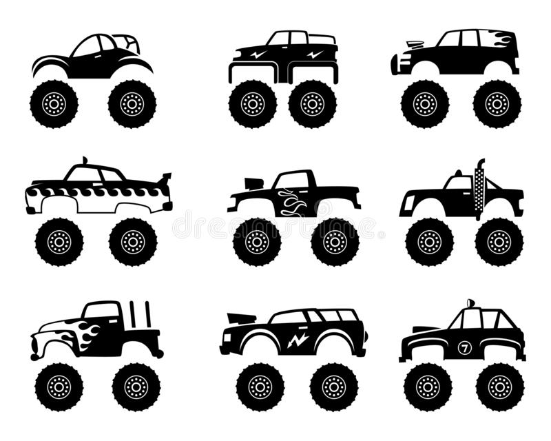 De auto van de monstervrachtwagen Grote banden en wielen van de autostuk speelgoed van het wegbeeldverhaal voor jonge geitjes vec vector illustratie
