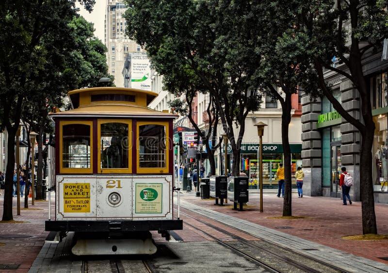 De auto van San FRANCISCO Tram op de kabelwagen royalty-vrije stock afbeeldingen